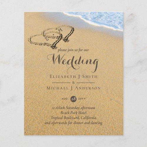 Tropical Beach Hearts in Sand Initials Wedding Inv