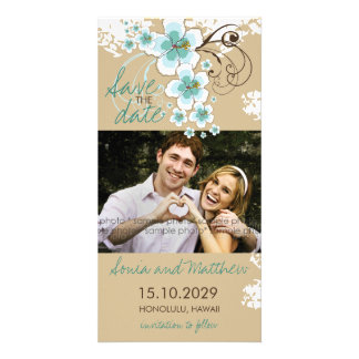 Tropical Beach Hibiscus Blue Save The Date Card Photo Cards