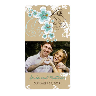 Tropical Beach Hibiscus Blue Wedding Photo Labels
