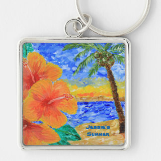 Tropical Beach Hibiscus Coconut Tree Sun Painting Keychain