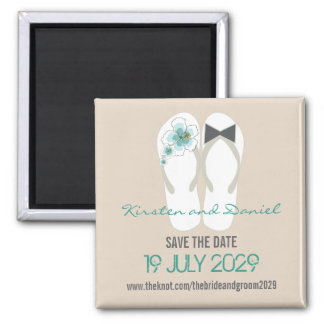 Tropical Beach Hibiscus Flip Flops Save The Date 2 Inch Square Magnet