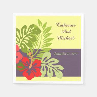 Tropical Beach Hibiscus Flower Wedding Napkin