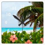 Tropical Beach Hibiscus Palm Tree Wall Clock