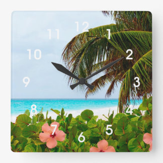 Tropical Beach Hibiscus Palm Tree Wall Clock