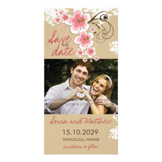 Tropical Beach Hibiscus Pink Save The Date Card