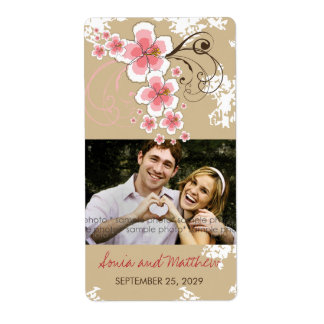 Tropical Beach Hibiscus Pink Wedding Photo Labels