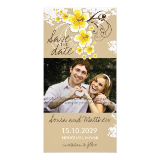 Tropical Beach Hibiscus Yellow Save The Date Card