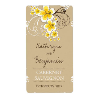 Tropical Beach Hibiscus Yellow Wedding Wine Label