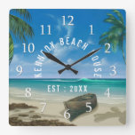 Tropical Beach House Square Wall Clock