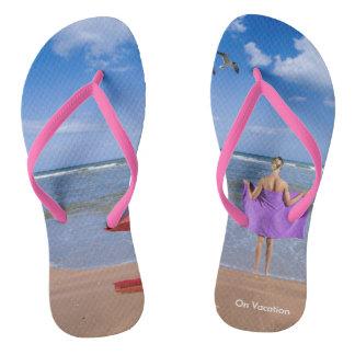 Tropical Beach image for Women's-Flip-Flips Flip Flops