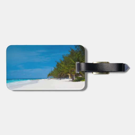 Tropical Beach in Barbados Tag For Luggage