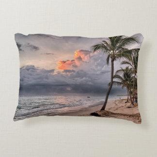 Tropical beach in the Caribbean Decorative Pillow