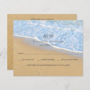 Tropical Beach Initials Sand Wedding RSVP