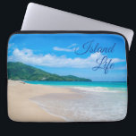 "Tropical Beach Island Life Laptop Sleeve<br><div class=""desc"">Perfect for those who dream of living the beach life on an island. A beautiful tropical beach photo with turquoise water and the words &quot;Island Life&quot; in cursive script over the blue sky.</div>"