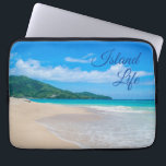 """Tropical Beach Island Life Laptop Sleeve<br><div class=""""desc"""">Perfect for those who dream of living the beach life on an island. A beautiful tropical beach photo with turquoise water and the words &quot;Island Life&quot; in cursive script over the blue sky.</div>"""
