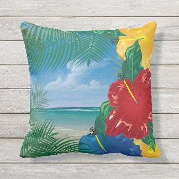 Beach Themed Tropical Beach Island Paradise Design Outdoor Pillow