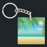 """Tropical Beach Keychain<br><div class=""""desc"""">Picture yourself on the beach with this design featuring a tropical beach scene complete with palm trees,  sand and surf.</div>"""