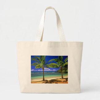 tropical beach large tote bag
