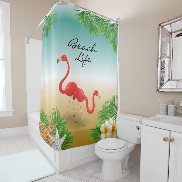 Tropical Beach Life Design Shower Curtain