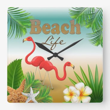 Beach Themed Tropical Beach Life Design with Flamingos Square Wall Clock