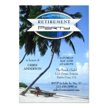 Beach Themed Tropical Beach Lounge Chair Retirement Invitation