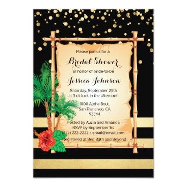Beach Themed Tropical Beach Luau Black Gold Bridal Shower Card