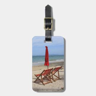 Tropical beach travel bag tag