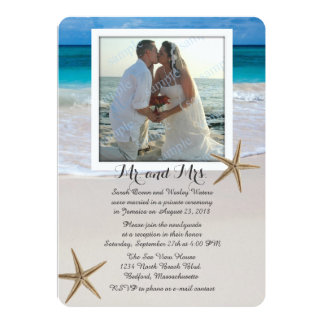 Tropical Beach Marriage Announcement With Photo Personalized Invites