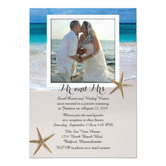 "Tropical Beach Marriage Announcement With Photo 5"" X 7"" Invitation Card"