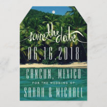 Tropical Beach Mexico Wedding Save the Date Tag