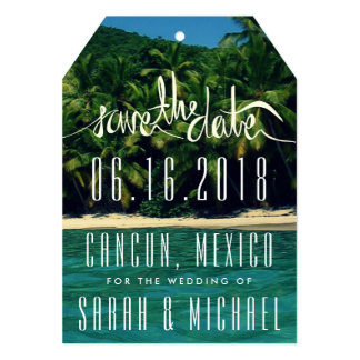 Tropical Beach Mexico Wedding Save the Date Tag Card