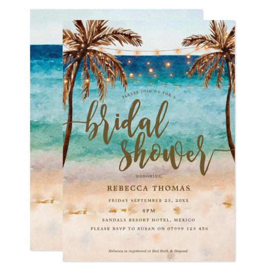 tropical beach modern bridal shower invitation