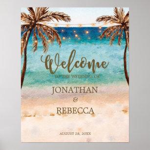 tropical beach modern wedding welcome sign poster