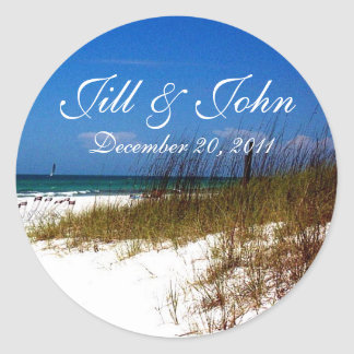 Tropical Beach Names and Date Wedding Sticker