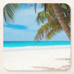 "Tropical Beach Ocean Palm Trees Landscape Square Paper Coaster<br><div class=""desc"">Tropical Beach Ocean Palm Trees Landscape</div>"