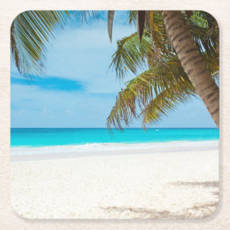 Tropical Beach Ocean Palm Trees Landscape Square Paper Coaster