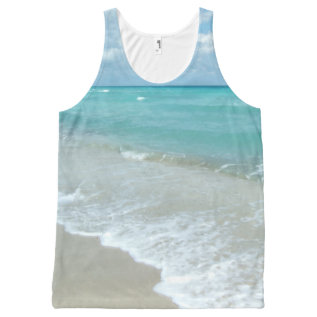 Tropical Beach Ocean Relaxing Blue Photo Print All-over-print Tank Top at Zazzle