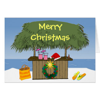 Tropical Beach Ocean Tiki Hut Bar Christmas Greeting Card