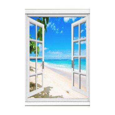 Beach Themed Tropical Beach Ocean View Faux Window Canvas Print