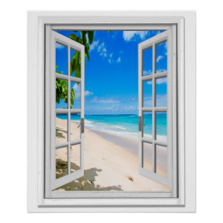 Tropical Beach Ocean View Faux Window Poster