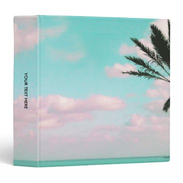 Beach Themed Tropical Beach, Ocean View, Pink Clouds, Palm 3 Ring Binder