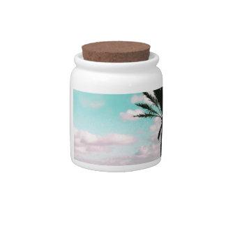 Tropical Beach, Ocean View, Pink Clouds, Palm Candy Dish