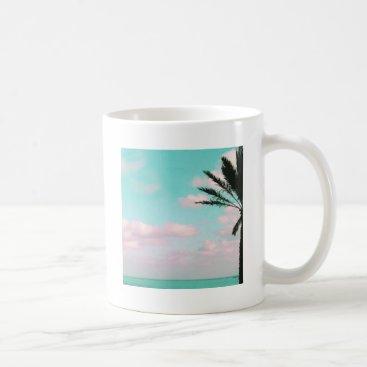 Beach Themed Tropical Beach, Ocean View, Pink Clouds, Palm Coffee Mug