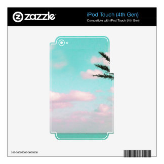 Tropical Beach, Ocean View, Pink Clouds, Palm Decals For iPod Touch 4G