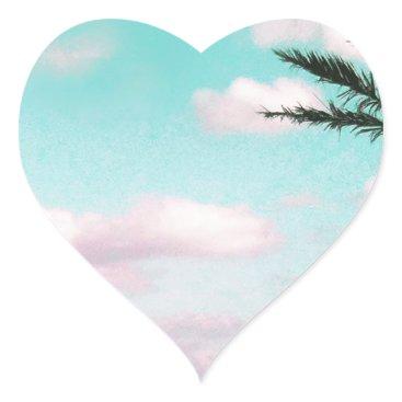 Beach Themed Tropical Beach, Ocean View, Pink Clouds, Palm Heart Sticker