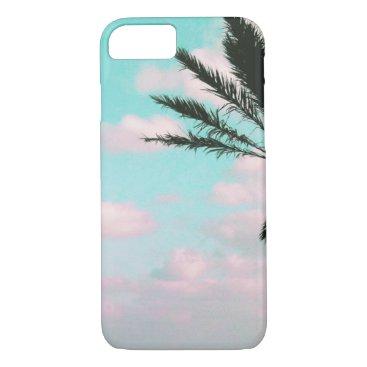 Beach Themed Tropical Beach, Ocean View, Pink Clouds, Palm iPhone 7 Case