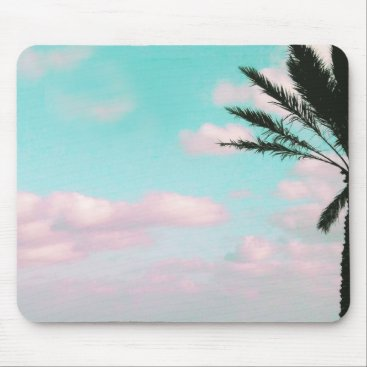 Beach Themed Tropical Beach, Ocean View, Pink Clouds, Palm Mouse Pad