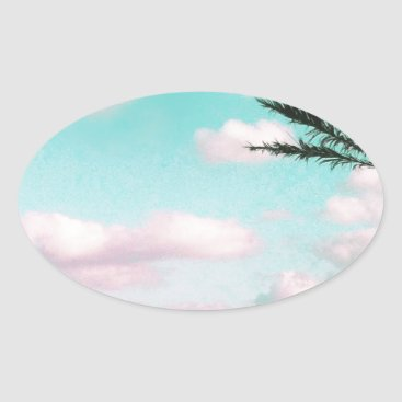Beach Themed Tropical Beach, Ocean View, Pink Clouds, Palm Oval Sticker