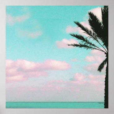 Beach Themed Tropical Beach, Ocean View, Pink Clouds, Palm Poster
