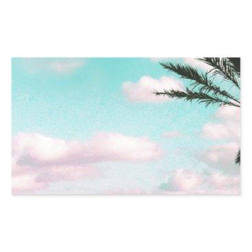 Beach Themed Tropical Beach, Ocean View, Pink Clouds, Palm Rectangular Sticker